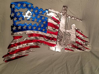 Tattered flag with lineman metal art wall hang