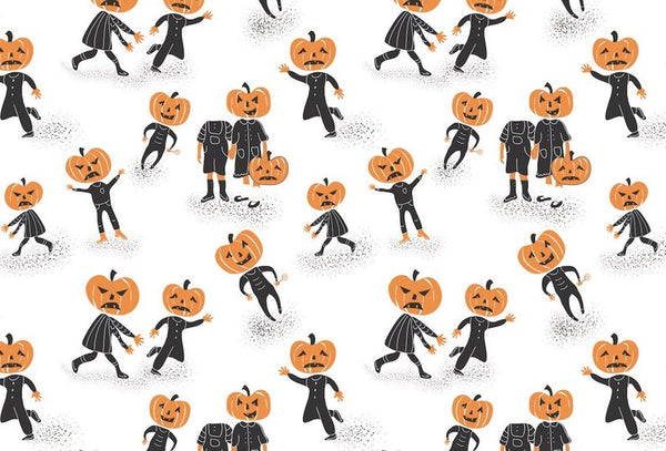 The Troublemakers Wrapping Paper, Halloween, pumpkins, vintage, decor, decoration, paper craft, gift wrap, skellypaperco, trick or treat,