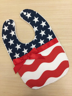 Fourth of July Bib, Stars and Stripes Baby Bib, Patriotic Bib, Red White & Blue Baby Bib, Baby Shower Gift Girl Bib, Independence Day Bib