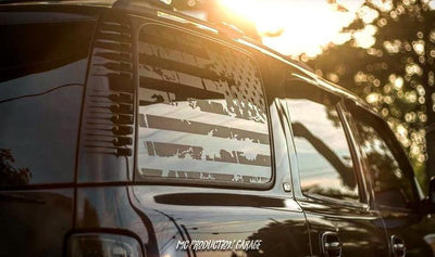 All Years - Tahoe/Yukon American Flag Decals - Denali Chevy Gmc Stickers Vinyl Blue Line Police Accessories Custom Side Windows Chevrolet
