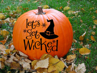 Wicked Halloween Decal, Lets Get Wicked Halloween Decoration Outdoor Decor Witch Decal Pumpkin Stickers Decals for Door Witch Hat Wall Decal