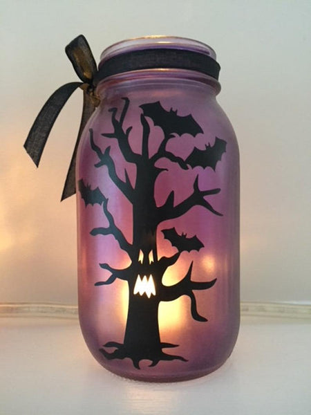Halloween Decorations Purple, Orange or Pink- Mason jar - Party Decor