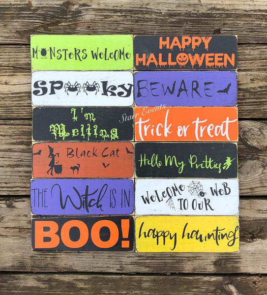 "10"" Small Halloween signs Halloween decorations Rustic Halloween decor Happy Halloween signs Trick or treat signs Beware sign fall decor"