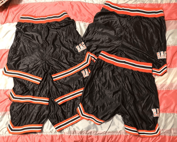 Vintage 1980s 1990s Black and Orange Nylon Basketball Eagles Shorts Costume Prop Retro Sportswear Unisex