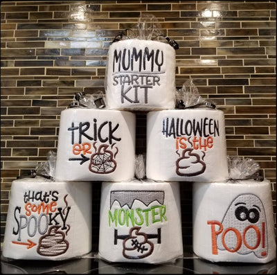 Halloween Embroidered Toilet Paper, Funny Halloween Decorations, Bathroom Gag Gift