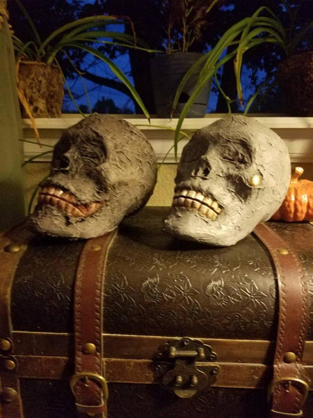 Handmade, Realistic mummy skull novelty Halloween decorations.