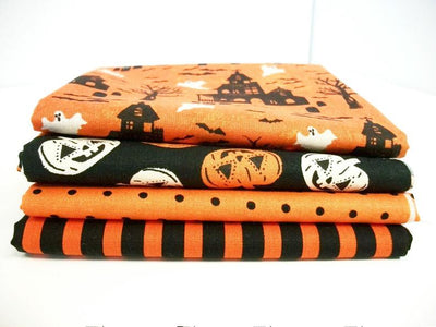 Fat Quarter Bundle, Halloween Fabric, Pumpkin Fabric, Haunted House, Ghost Fabric, Sewing Crafting Fabric, Orange Fabric, Novelty Fabric        Update your settings