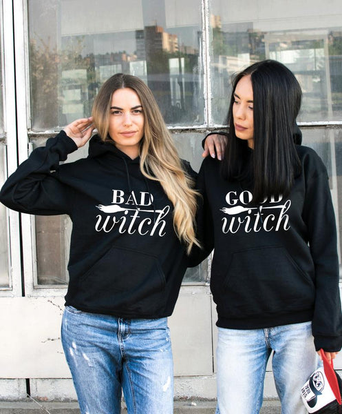 Halloween Good Witch Bad Witch BFF Hoodies