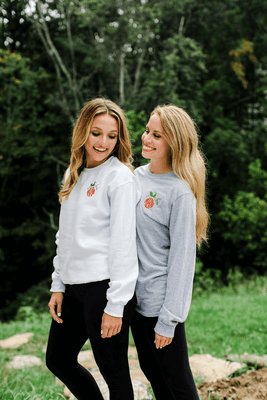 Monogrammed Pumpkin Sweatshirt | T Shirt | Comfort Colors | Long Sleeve | Halloween | Fall | Embroidery | Thanksgiving | Sweater | Crewneck