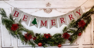 Christmas Decoration  BE MERRY Christmas and Holiday - Christmas Banner and Garland With Gold Bell