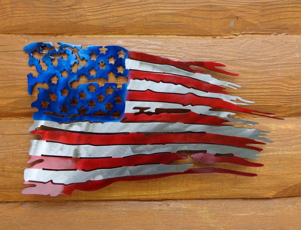"Small Tattered & Torn American Battle Flag Plasma Cut Metal Wall Art 18"" W x 10"" T"
