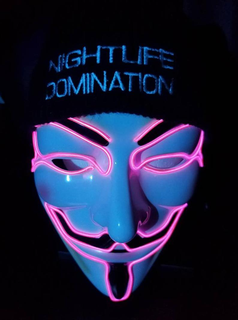Halloween  Party Guy Fawkes Vendetta Pink LED Mask