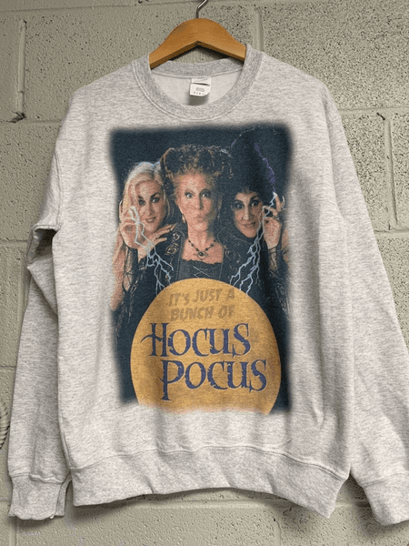 Just a Bunch of Hocus Pocus Sweatshirt Halloween Sweatshirt Unisex Heather Ash Gray