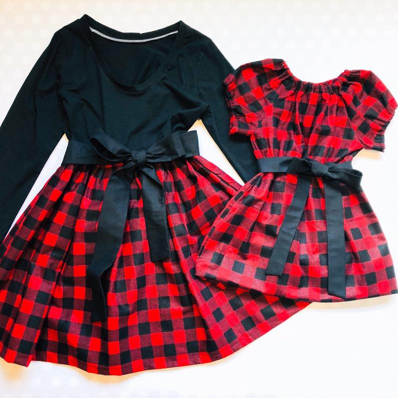Buffalo Plaid Matching Mother Daughter Christmas Dresses - Red and Black Check Girl Dress - Mommy and Me Outfits