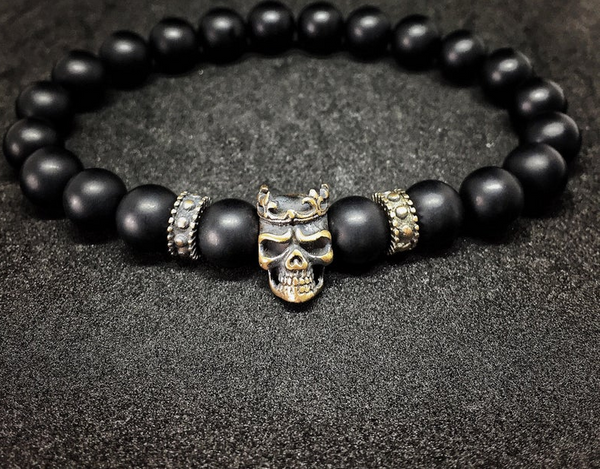 Halloween costume Skull jewelry Gothic jewelry Men bracelet Anniversary gift for men gift for boyfriend gift for husband gift for him groom