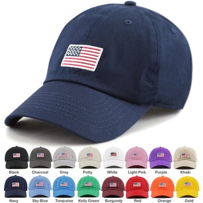 American Flag Embroidered Washed Cotton Baseball Cap        Update your settings