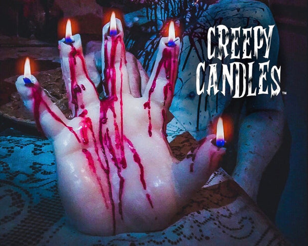 Horror Bledding Hand Goth Creepy Candles