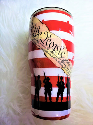 Distressed American Flag Tumbler / Custom drink tumbler / Stainless steel