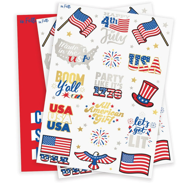 Fourth of July Decorations Flash Tattoos - 30 | Memorial Day, Independence Day, Red White and Blue Supplies, 4th of July USA Flag Labor Day