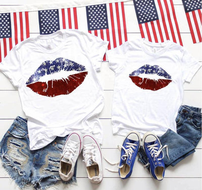 Red White and Blue Lips, Family Independence Day Shirts, Patriotic Family Shirts, 4th of July Tshirt, Family t-shirts