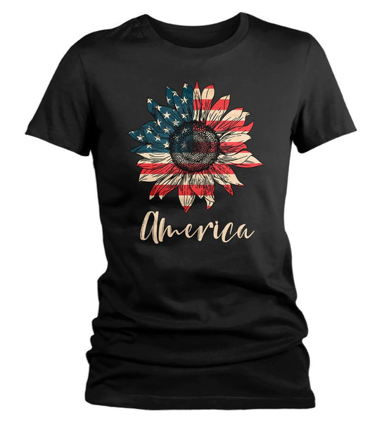 Women's America Sunflower T-Shirt 4th July Shirt Boho America Shirts Memorial Day Shirt Patriotic Sunflower Shirt