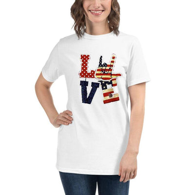 Love ASL American flag 4th of July Independence day Deaf