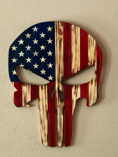 Wood Punisher Wall Hanging - Punisher Skull - Wood skull man cave decor - Man Cave - Wood American Flag