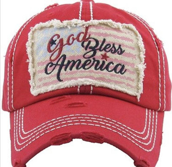 Distressed Red God Bless America Blue Baseball Cap, Patriotic hat, USA