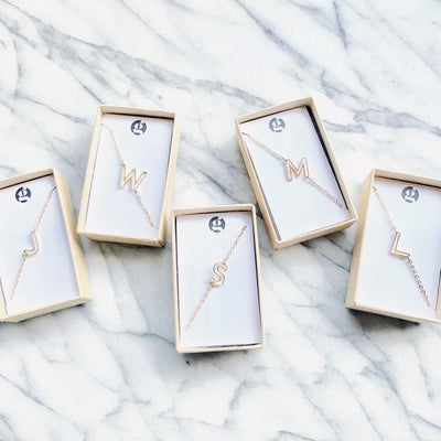 NEW letter necklace petite initial alphabet personalized sideways playful shower wedding bestseller graduation teacher        Update your settings