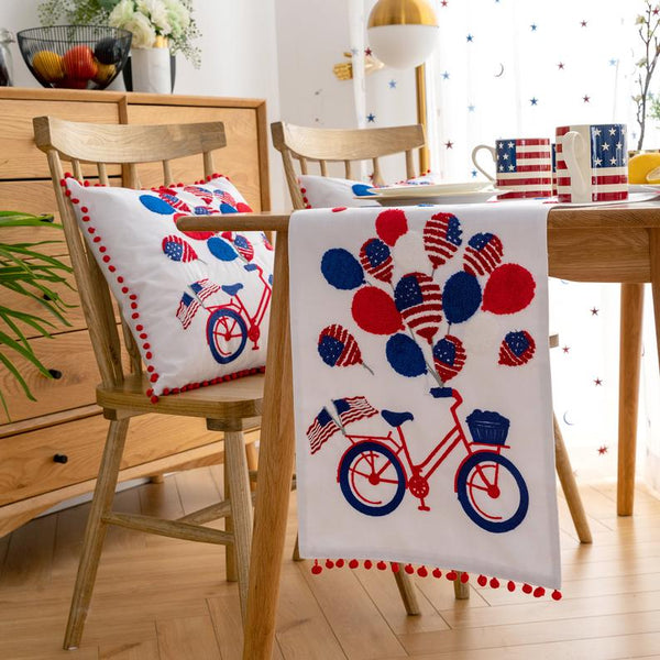 4th of July Independence Day Table Runner 14x72 / 14x108 | Patriotic Decorations Embroidery Bicycle American Flag Balloon