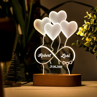 Personalized 3D Illusion Lamp Gift for Her. Custom Acrylic Lamp Gift. 3D Night Light Gift for Wife. Custom Led Lamp Gift for Girlfriend