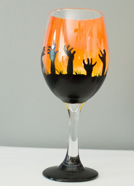 Halloween Wine Glass Set of 4 Etched Funny Sayings