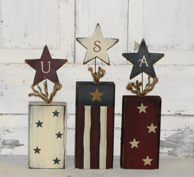 Primitive Wood Americana Firecrackers with USA letters - Sold set/3 - Patriotic - Independence Day - Home Decor- Shelf Sitter - Handmade