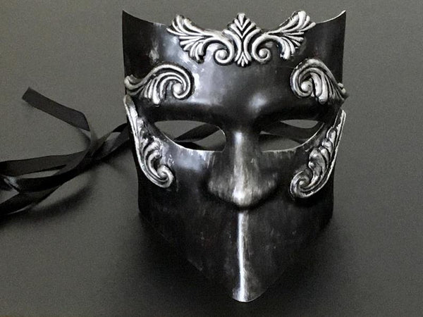 Halloween Party Black Silver Masquerade Men Mask