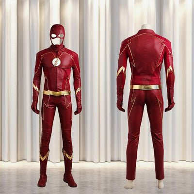 The Flash Season 4 Cosplay Barry Allen Costume Dc Comics Jacket Superhero Outfit Halloween Mask Adult Men Custom Made Leather