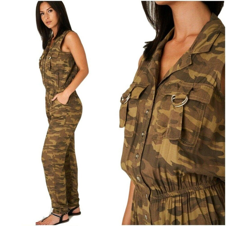 Khaki Green Camouflage Utility Jumpsuit Playsuit Army Plus Size 18/20 & 20/22 Flying Suit Aviator