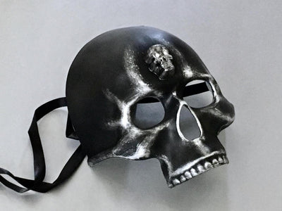 Halloween Party Black Silver Skull Masquerade Men Mask