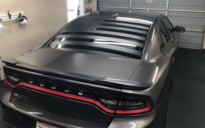 06-21 Dodge Charger Rear Window American Flag Decal - Sticker Banners Vinyl Custom Accessories Design Rear Window Hemi Srt Hellcat Black