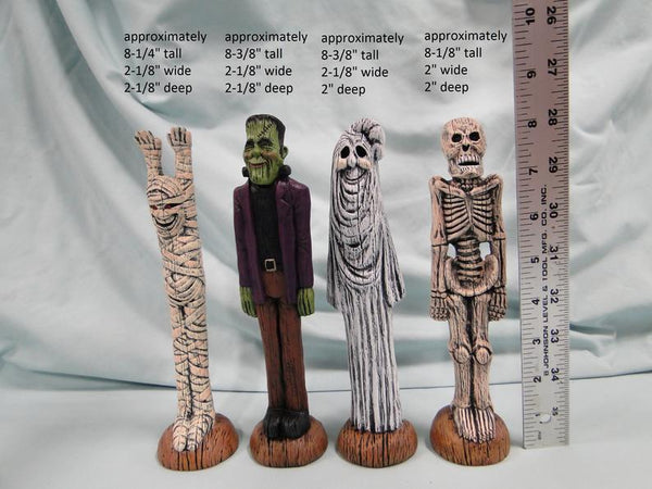 Mummy, Frankenstein, Ghost & Skeleton Figurines, Halloween Characters Set, Ceramic Figurines, Halloween Decoration, Pencil Decorations