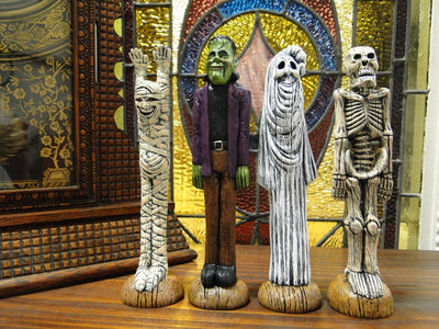 Mummy , Frankenstein , Ghost & Skeleton Figurines, Halloween Characters Set