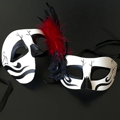 Black White Halloween Mask, Couple Halloween Mask, Masquerade Mask, Dia De Los Muertos Mask, Mask for Men, Mask for Women