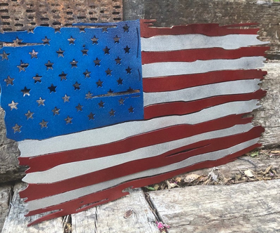 Tattered American flag, metal flag wall art, steel flags, patriotic decor, plasma cut flags, red, white and blue flag, gifts for veterans