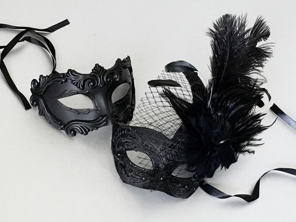 Black Masquerade Mask, Black Couple Masquerade Mask, Wedding Couple Mask, Mask for Men, Mask for Women, Ball Party Mask, Halloween Mask