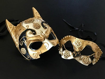 Halloween Party Black Gold Masquerade Couple Mask