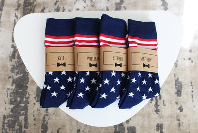 Personalized Groomsmen Socks | USA American Flag Wedding Socks - Men's Size 7-12 | Custom Sock Labels        Update your settings