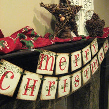 Home and Living Holiday Christmas Decoration MERRY CHRISTMAS Decor Holiday Banner Garland Christmas Home Decor Banner Red & Green Christmas