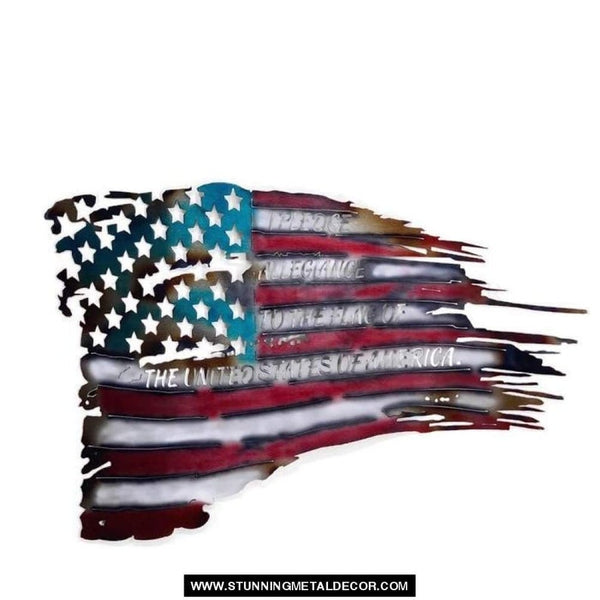 War Torn American Flag Metal Wall Art