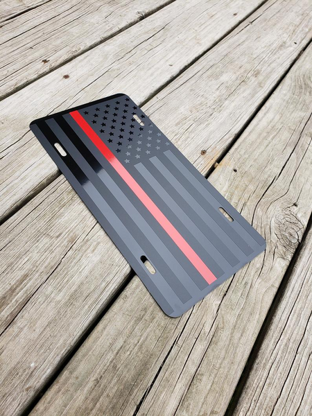 Thin Red Line American Flag License Plate / Red Line American Flag / Tactical FireFighter American Flag / Tactical American Flag