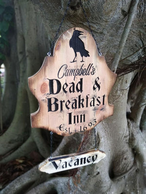 Personalized Halloween Door Hanger, Dead & Breakfast Door Sign Name Engraving, Halloween Decor, Spooky Yard Sign, Halloween Door Decor, Goth