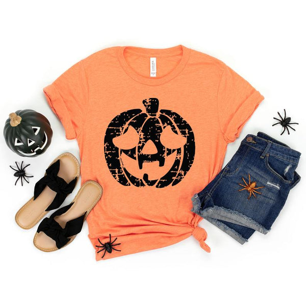 Pumpkin Monogram Shirt, grunge, halloween shirt, Thanksgiving, Fall, distressed pumpkin, bella, plus size, customize, Monogram shirt, ladies